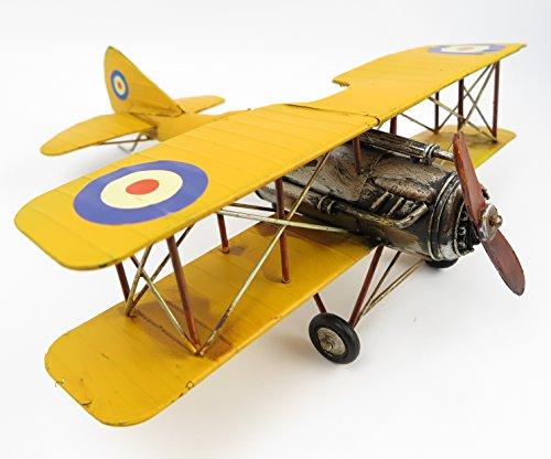 tôle Avion Oldtimer Hélice Machine biplan jaune décoration nostalgie rétro Tôle modèle modèle Avion Avion modèle Shabby Vintage