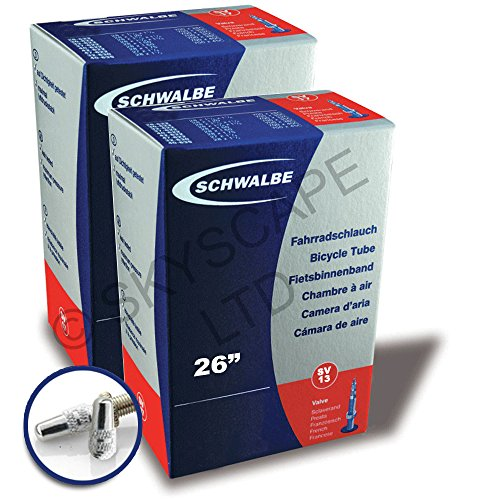 2 x SCHWALBE Fahrradschlauchen - 26 zoll x 1.50 / 2.50 (1,50 1,75 1,90 1,95 2,00 2,10 2,125 2,35, 2,50) - Sclaverand Ventil - GRATIS VERSAND + kostenlose metall ventilkappen wert 3,99! [# SV13] (26 Schlauch Zoll Presta Fahrrad)