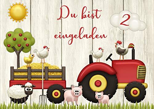 Danis Zauberlädchen 10 Einladungskarten Traktor Bauernhof Kindergeburtstag Kinder Party Geburtstag-Einladungen zum Ausfüllen (Jungen)