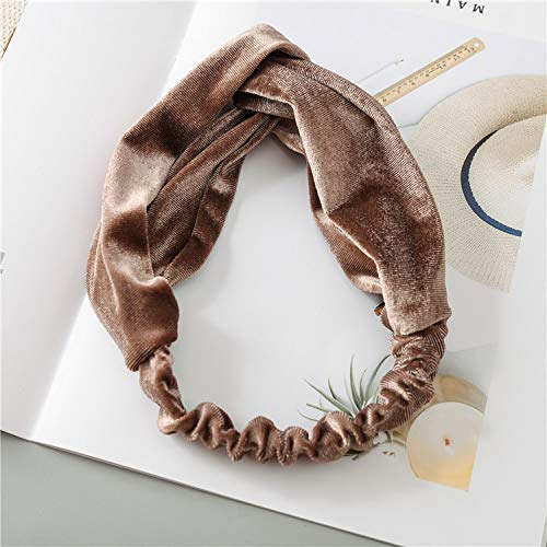 SIWUXIE Cross-Haarband koreanische Version von Herbst und Winter einfach einfarbig Kreuz breite Seite Frauen Retro-Haar-Accessoires, ()