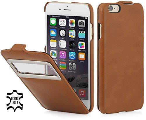 StilGut Lederhülle kompatibel mit iPhone 6s vertikales Flip-Case mit Sichtfenster, Cognac - Leder Vertikal Iphone 6 Case