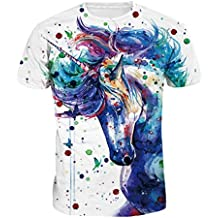 ZKOOO Unisex Unicornio Imprimió Camisetes de Manga Corta De Los Pares  Verano Camiseta T-Shirt 0ebc45123156
