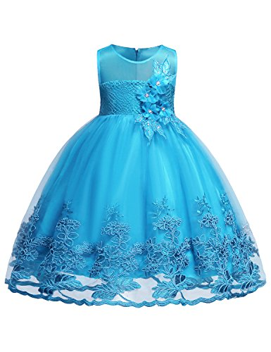 Hibelle Mädchen Geburtstag Kleid Mädchen Kleid für Besondere Anlässe Kind ärmellos Spitzenkleid 3D Blume EIN Linienkleid Kleider Größe (160) 13-14 Jahre Wasserblau Kleid