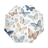 Folding Umbrella Travel Galaxy Butterfly Cat Flammino Many Themes Funny Print Painting Rain Windproof Automatic Sunblock Compact for Women Men Girls Boys