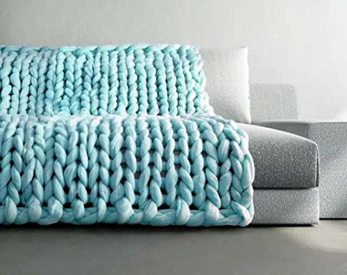 Decke, Frashing 80x100cm Hand Chunky Strickdecke Decke Garn Merino Wolle Sperrig Stricken Wurf Gewebte Webereien (Blau) Hochzeit Bettwäsche-set König