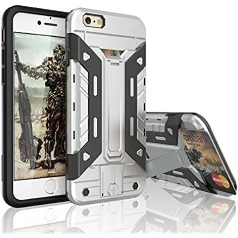 Custodia per iPhone 6s, 3H [tarmor Series] iPhone 6/6S (4,7) Custodia a portafoglio protettiva Carrying robusto ibrida antiurto Custodia Bumper [Video Supporto], PLASTICA, Silver, iPhone 6/6S