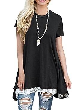 FeelinGirl Blusa Camisa Falda Mangas Largas Encaje Para Mujer (L(Busto 103cm, Cintura 115cm, EU 44-46), Negro-Manga...