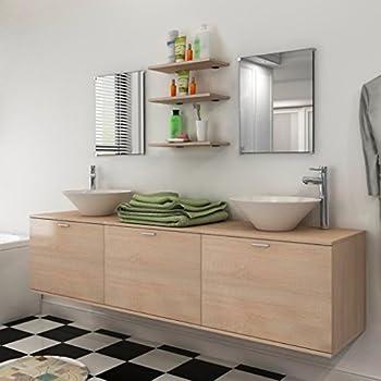 Générique Meuble de Salle de Bain Double Vasque 150 cm Gris Mat Coralie - L 150 x l 46 x H 50 ...