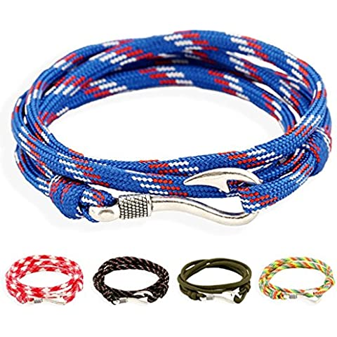 Gnzoe Gioielli Bracciali Uomo/Donne In pelle Perlina Braccialetto Polsino Nautical Navy Anchor Couples Hook Hand Strap