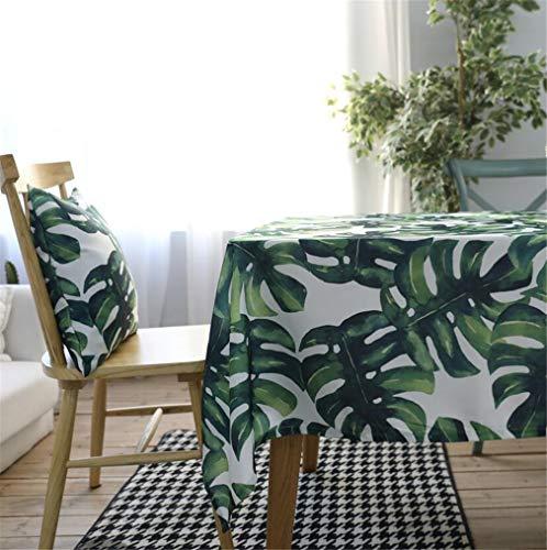 Tuhaxz Grüne Blätter Rechteckige Tischdecken Polyester Baumwolle Wasserdichte Tischdecke Moderne Grüne Blätter Rechteckige Tischdecke