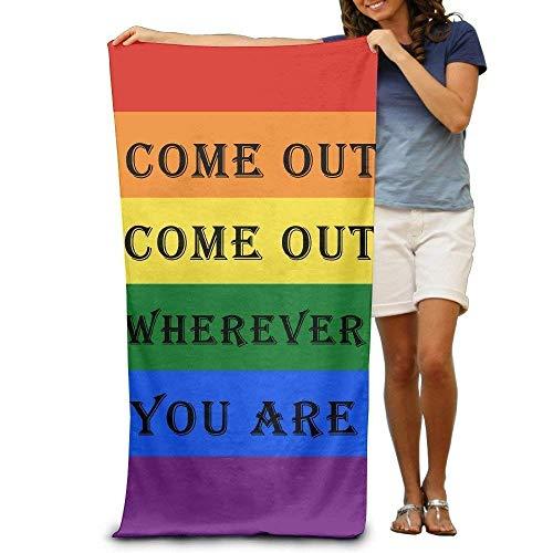 "rongxincailiaoke Strandtücher Handtücher Gay Marriage Come Out Wherever You Are Adults Cotton Beach Towel 31"" X 51"""