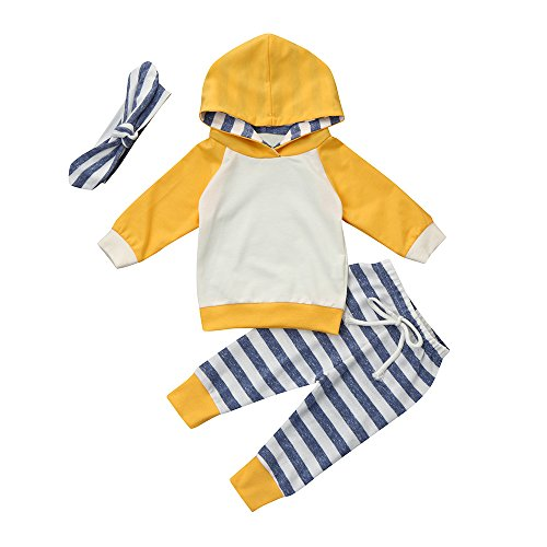 Neugeborene Kleidung Hirolan 3 Stück Kleinkind Baby Junge Mädchen Kleider Set Lange Hülse Kapuzenpullover Tops Streifen Hose Stirnband Outfits (100cm, Gelb) (Lange Knit Sleeveless Top)