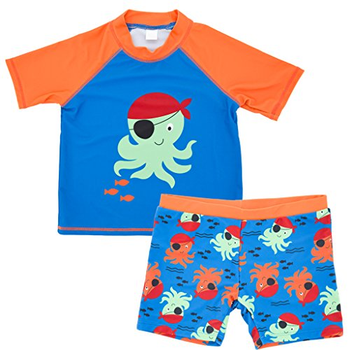 Baby Jungen Zweiteiler Badeanzug Bademode - Kleinkind Schwimmset Kinder Kurzarm Schwimmen T-Shirt und Badeshorts 1-6 Jahre -