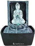 Zimmerbrunnen Innenbrunnen Feng Shui Buddha Meditierend LED Farb Beleuchtung 26...