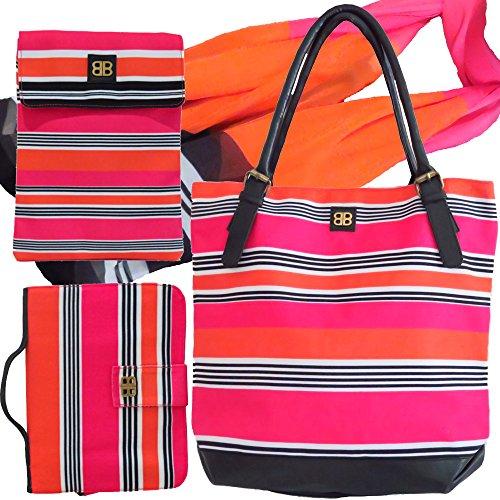 Bagabook Schutzhülle für Bold Candy Stripe Set Tasche, Georgette Schal, Book Diary Schutzhülle & iPad Tablet Tasche. (Stripe Schal Bold)