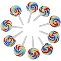 Kingken 10 piezas creativo DIY resina Lollipop polímero arcilla microscópica accesorios de manualidades (colorido)