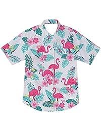 0ac3f7ee94 AIDEAONE Niños Camisa con Estampado de Dinosaurio Camisas de Manga Corta  con Botones 2-8
