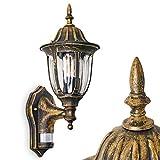 Außenwandleuchte Ribadeo mit Bewegungsmelder - Terrassenlampe - Wandlampe Hof aus Aluguss - Aussenleuchte für Terrasse - Eingangsbeleuchtung Vintage in Braun-Gold - E27-Fassung - maximal 60 Watt