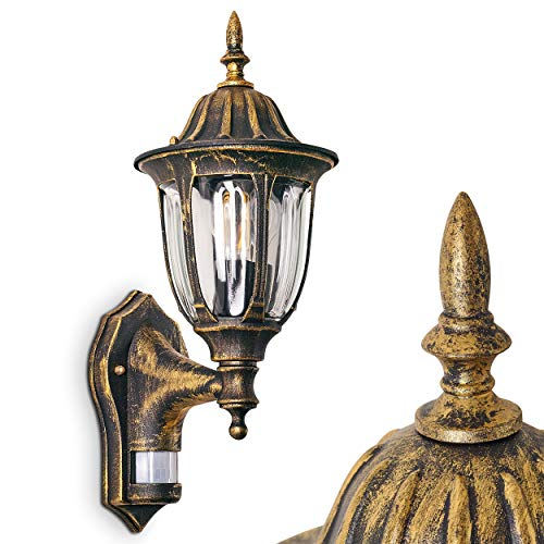 Außenwandleuchte Ribadeo m. Bewegungsmelder, Wandlampe aufwärts in antikem Look, Aluguß in Braun/Gold m. Klarglas-Scheiben, Wandleuchte für Terrasse/Hof m. E27-Fassung, max. 60 Watt, Retro/Vintage