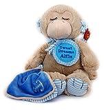 Nouveau bébé garçon de premier doudou Sleepy Shore Singe Marron avec couverture Bleu 25cm personnalisée avec nom Badge