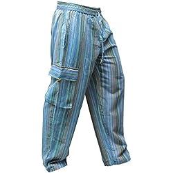 Pantalones Shopoholic Fashion, hippies, de pierna ancha, unisex, bolsillos laterales, diseño de rayas Turquesa Turquise mix XL