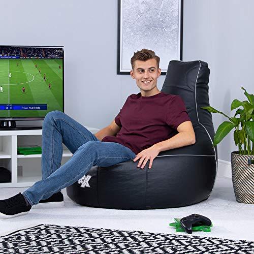 i-eX Elite Gaming-Sitzsack, Ergonomischer Gamer Sitzsack, Schwarz, 103cm x 88cm, Groß, Kunstleder, Gaming-Stuhl, Wohnzimmer