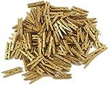 ❤️HobbyHerz 100 Stück Deko Holzklammern | Goldfarbene Kleine Wäscheklammern Mini 3cm | Holz Zierklammern | Set für Kreative Foto Geschenke | Dekoration | Mini Clips Klammern für Party | Gold
