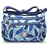 ABLE anti-splash water Shoulder Bag Casual Handbag Messenger bag Crossbody Bags Multi-functional pocket design: can plug flat, book, wallet, etc (2-blue feather)
