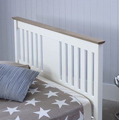 Happy Beds Chester Wooden Bed White and Oak Frame 4'6'' Double 135 x 190 cm