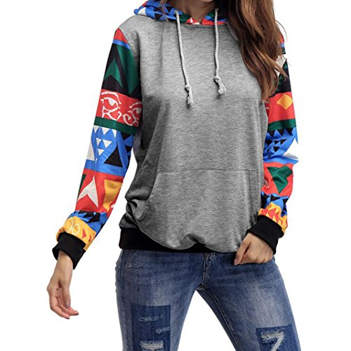 Sweatshirt Hoodie Langarm Damen Womens Casual Kapuzen Sweatshirt Pullover Hoodie Mantel Oberbekleidung Tops Bluse Sunday (Grau, S) (Kapuze Batwing)