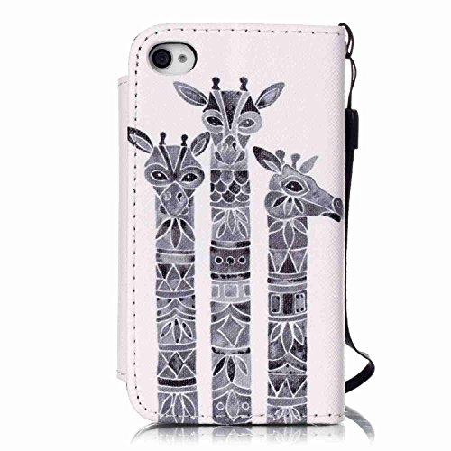 Owbb Filp PU Housse Coque Étui avec magnetic buckle protection pour iPhone 4 / 4S / 4G Smartphone - horse Color 12