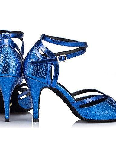 ShangYi Chaussures de danse ( Autre ) - Non Personnalisables - Talon Aiguille - Cuir / Cuir Verni - Latine / Jazz Blue