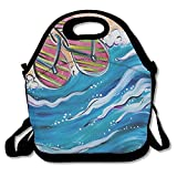 DRVLTY Lunch Boxes Summer Flip Flops Lunch Tote-Personalized Lunch Bags
