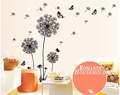 ufengke® tarassaco neri e farfalle che volano nel vento adesivi ... - Stickers Murali Camera Da Letto