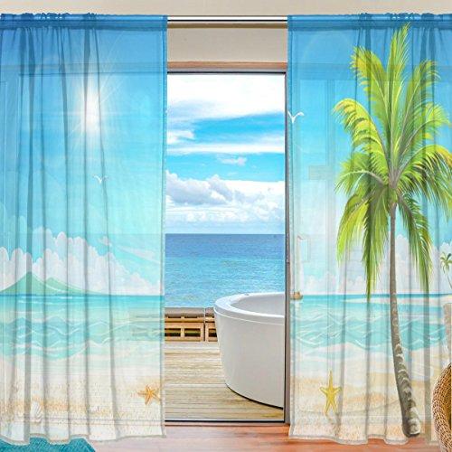Vorhang Tropische Palme Meer Strand bedrucktes Weiches Material für Schlafzimmer Wohnzimmer Küche Decor Home Tür Dekoration 2Felder 198,1x 139,7cm (Küche Vorhänge Meer)