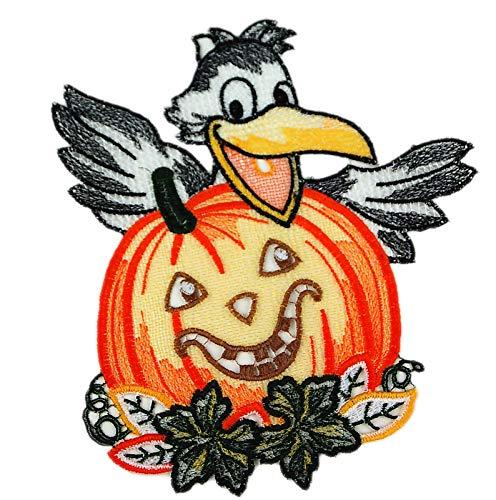 Plauener Spitze Fensterbild Kürbis mit Rabe 19 x 22 cm + Saugnapf Spitzenbild Halloween Herbst