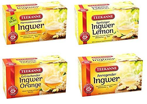 Teekanne Ingwer Tee Mix - Ingwer-Pur, Ingwer-Orange, Ingwer-Zitrone, Ingwer-Kurkuma (4x18 Beutel, 135,8g)