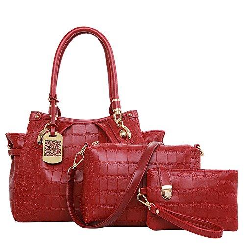 fanhappygo Frauen-Handtaschen-Schulter-Beutel Tote-Geldbeutel PU-ledernen Damen Messenger Hobo Bag rot