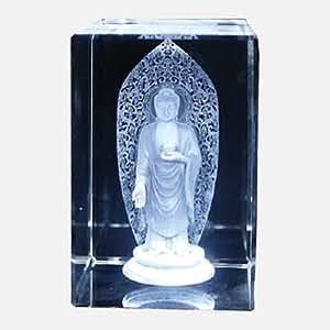 Bouddha avec auréole en cristal gravé au Laser Ornament. Dimensions 5 cm x 5 cm x 8 cm