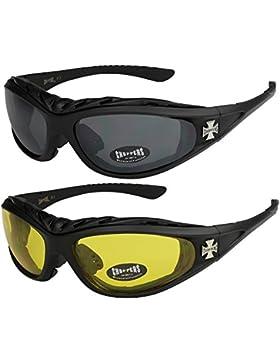 Choppers - Pack de 2 gafas de sol con acolchado en negro, antracita, plata y blanco - Unisex, Hombre, Mujer, Moto...