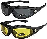 Choppers - Pack de 2 gafas de sol con acolchado acolchadas unisex hombre mujer moto bici nocturnas - 1x Modelo 01 (negro/negro tintado) y 1x Modelo 03 (negro/amarillo tintado) - Modelo 01 + 03 -