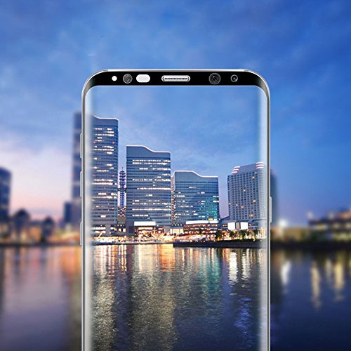 Samsung Galaxy S8 /S8 PLUS Screen Protector Tempered Glass Protector Full Coverage Glass Bubble Free(Samsung S8, Negro, Transparente)