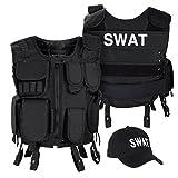 Black Snake SWAT FBI Security Police Agenten Kostüm Einsatzweste und Baseball Cap - XL/XXL - SWAT