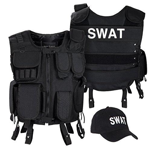 Black Snake SWAT FBI Security Police Agenten Kostüm Einsatzweste und Baseball Cap - M/L - ()