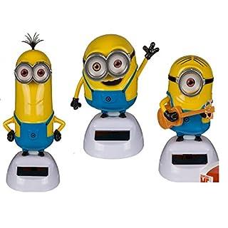 alltoshop® 3 er Set Minions, Bob, Stuart Kevin Solarfigur Wackelfigur Film TV Minion Figur