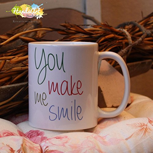 Kaffeebecher ~ Tasse -You make me smile ~ Liebe ~ Freundschaft ~ Paar~ Weihnachten Geschenk