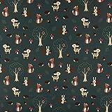 SCHÖNER LEBEN. Jersey Baumwolle Wald Tiere Igel Fuchs REH Eichhörnchen Pilz grün braun rot 1,40m Breite