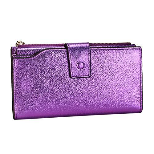 XCWQ Damenbrieftasche Frauen-Echtes Leder, Das Funktionsmappen-Reißverschluss-Langen Schimmer-Kartenhalter-Damen-Geldbeutel Blockiert - 4 Violetten Schimmer