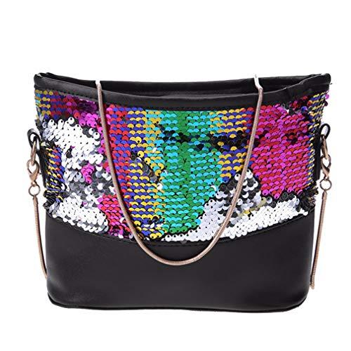 Showahandbag Glänzende Glitzer-Handtasche für Damen, PU-Leder