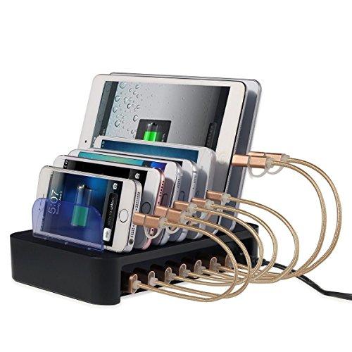 NexGadget Stazione di Ricarica 8 Porte, Hub USB 50W/2.4 a Max Velocità, Organizzatore di dispositivi, Caricabatterie Portatile da Tavolo USB Caricatore per Smartphone e Tablet